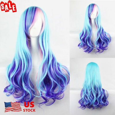 US Women Mixed Blue Pink Purple Long Curly Hair Cosplay Costume Party Full - Pink Hair Costume