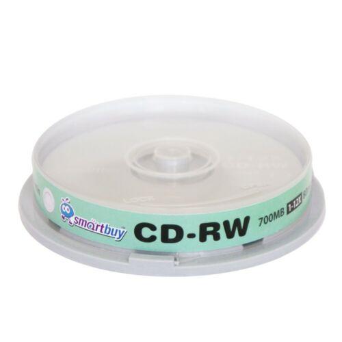 10 Pack Smartbuy CD-RW 1-12X 700MB/80Min High Speed Branded Logo Rewritable Disc