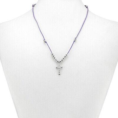 Violet String Rosary Necklace