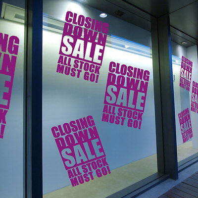 Closing Down Sale Sign Retail Shop Window Display Vinyl Wall Stickers Decal A307