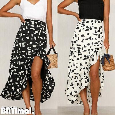 Women High Waist Long Skirt Ladies Summer Holiday Casual Ruffle Wrap Sundress 16