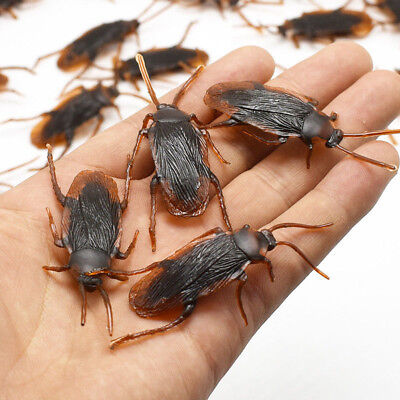 100Pcs Brown Cockroach Trick Toy Party Halloween Haunted House Prop Decor US - Halloween Decor