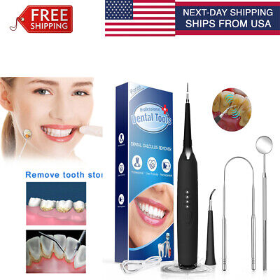 Ultra Sonic Electric Tooth Stain Eraser Cleaner Led Cleaning Dental Scaler Pick