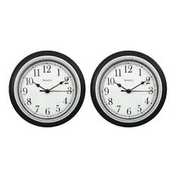 Westclox Wall Clock Simplicity Round Home Office Clock Analog Black 46991, 2-PK