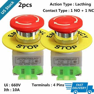 2pcs Lay37 Red Mushroom Emergency Stop Push Button Switch No Nc 22mm Cnc