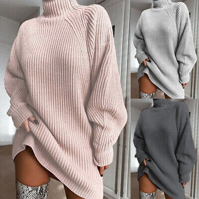 Womens Oversized Sweater Jumper Mini Dress Ladies High Neck Long Pullover Tops