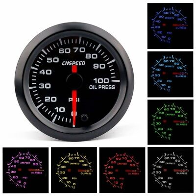 "2"" 52mm Car Oil Pressure Gauge 7 Color LED Electronic Meter Psi Oil Press Sensor"