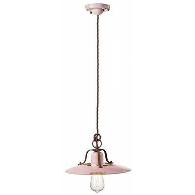 Lámpara de Araña Colgante Hierro Forjado Clásico Cerámica Rosa Flr C1442