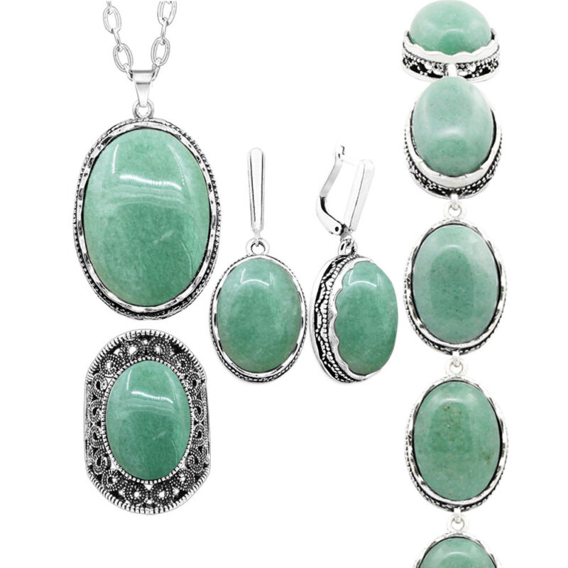 Oval Natural Jade Set Necklace Earrings Ring Bracelet Fashion Party Jewelry