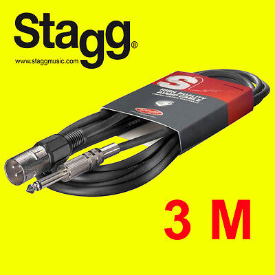 Stagg SAC3PXMDL S. Series 6mm Audio to XLR 3m Cable for Stage Musician - New