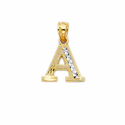 14K Real Yellow Gold Two Tone Dia Cut Initial Letter Small Charm Pendant A to Z