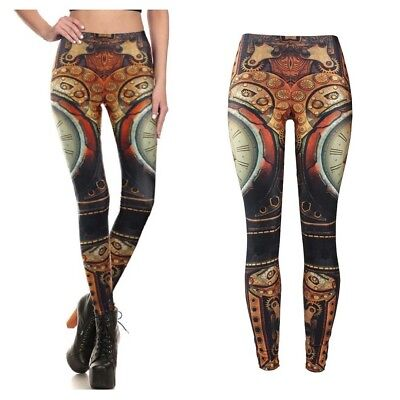 Sci-fi Outfit (UK VINTAGE STEAMPUNK CLOCK LEGGINGS Mechanical Sci-Fi Gift Fashion Outfit)