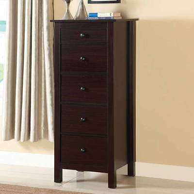 Launces Contemporary Living Bedroom Compact 5 Storage Drawers Chest in Espresso
