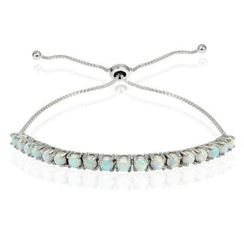 Sterling Silver 1ct Created Opal Adjustable Bracelet