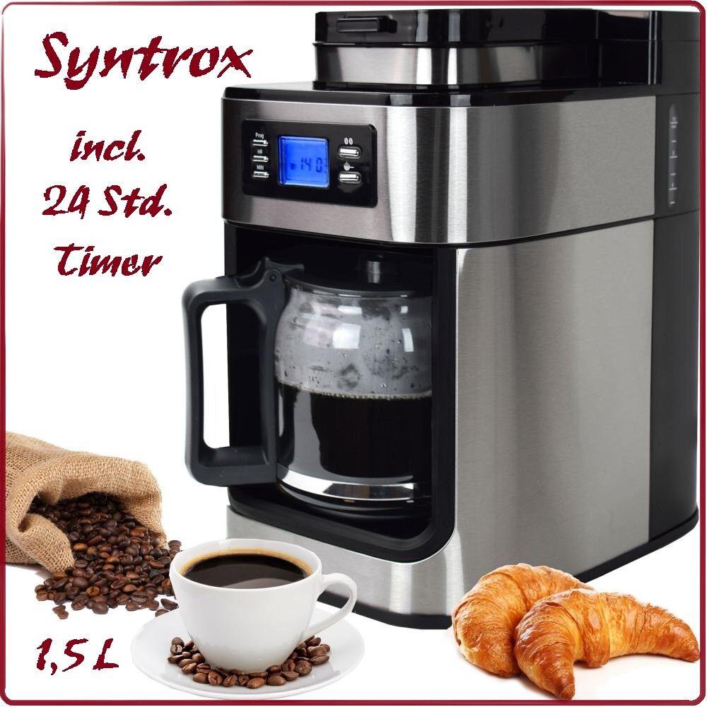 Edelstahl Kaffeeautomat mit Mahlwerk und Timer LCD Kaffeemaschine Syntrox