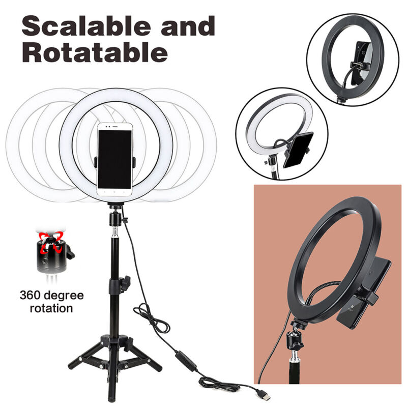 """10"""" Selfie tabletop LED Ring Light with Tripod phone holder for Makeup Video"""