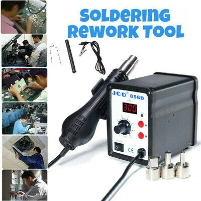 858d Soldering Rework Station Smd Iron Desoldering Hot Air Gun Tool W3 Nozzles