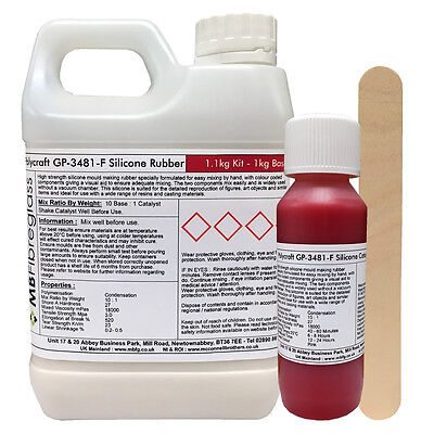 Polycraft GP-3481-F RTV Silicone Mould Making Rubber 1.1kg Kit (Red Catalyst)