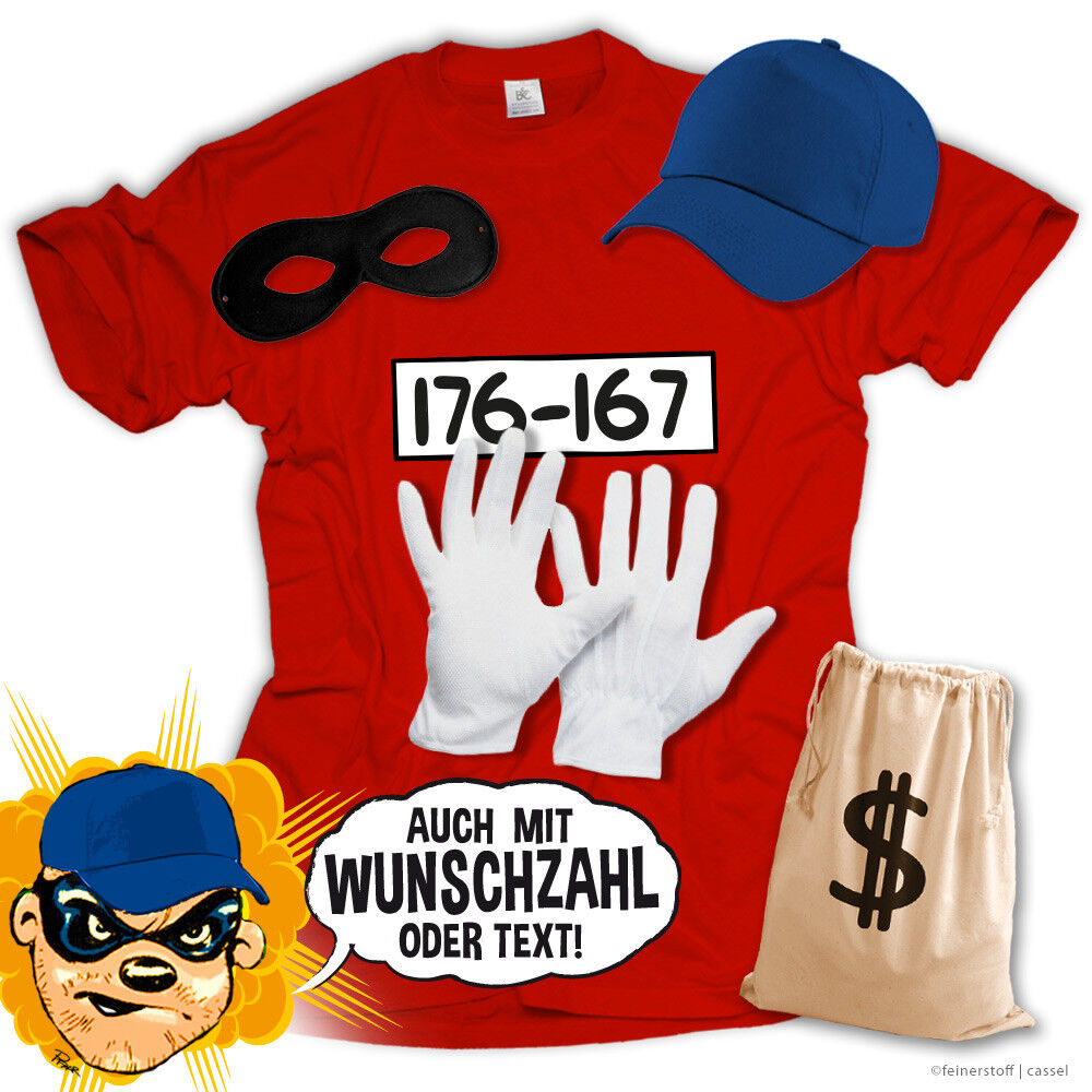 T-Shirt Panzerknacker Kostüm Shirt Verkleidung Set Karneval JGA Fasching Kinder