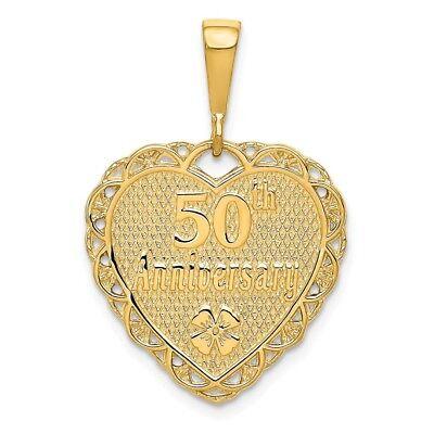 14K Yellow OR White Gold Reversible 50th Anniversary Polish Pendant/Charm 2.8 GM