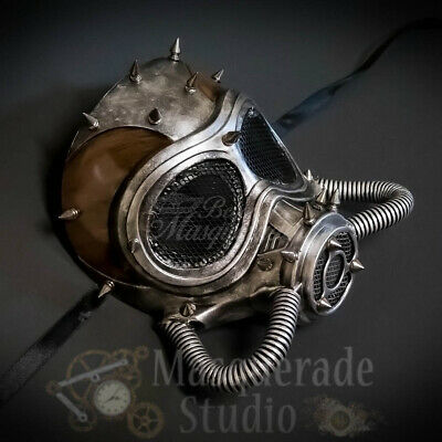 Men's Spiked Steampunk Gas Mask Halloween Costume Masquerade Ball Mask [Silver]
