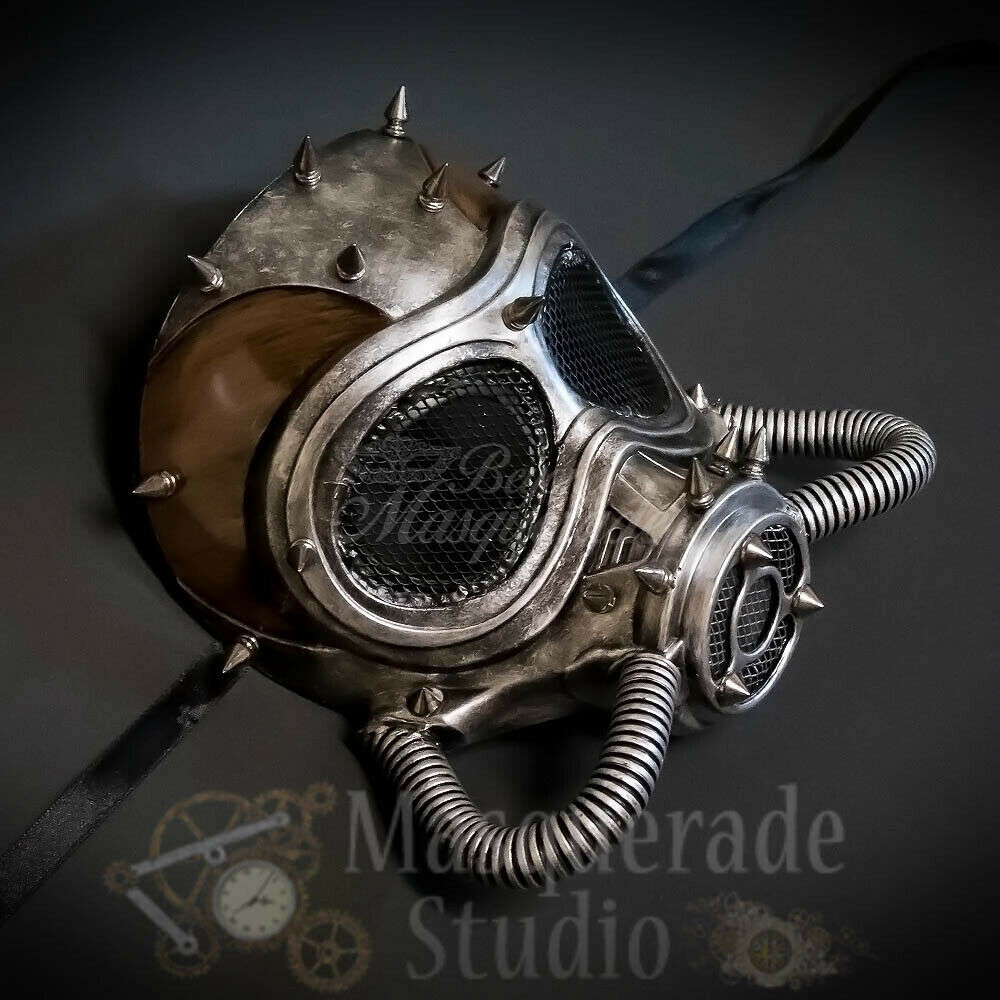 Men's Spiked Steampunk Gas Mask Halloween Costume Masquerade