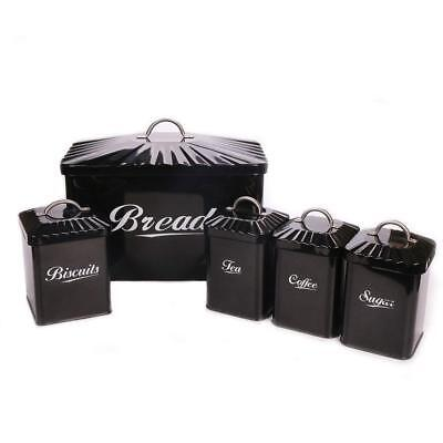 649Black Metal Bread Bin/Box/Container Biscuit Tea Coffee Sugar Tin Canister Set