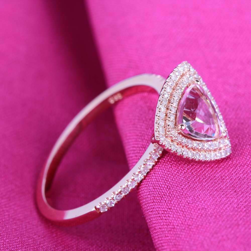 Pink Morganite Two Halo Natural SI Diamond Engagement Wedding Ring ...