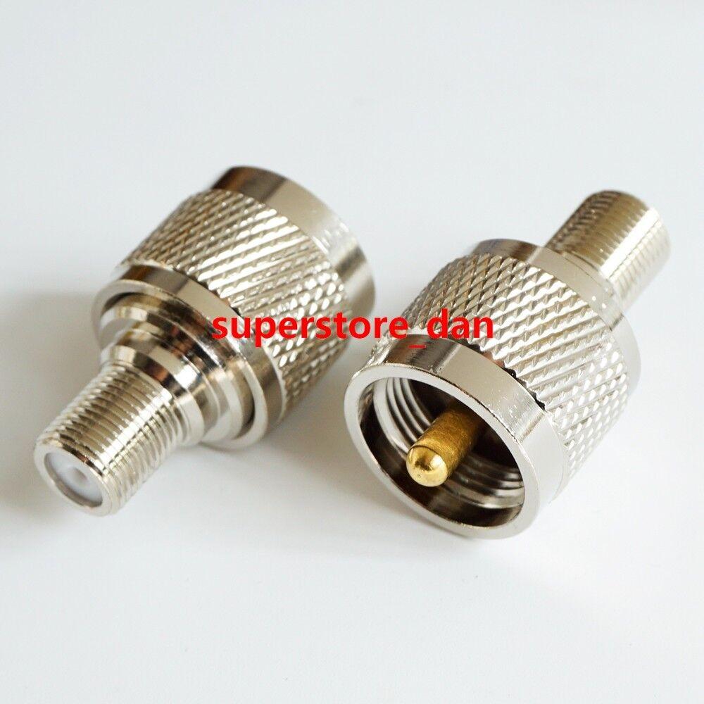 New 2 Pcs BNC Male Plug to F Type Female Jack TV Adapter RF Coax Connector TS