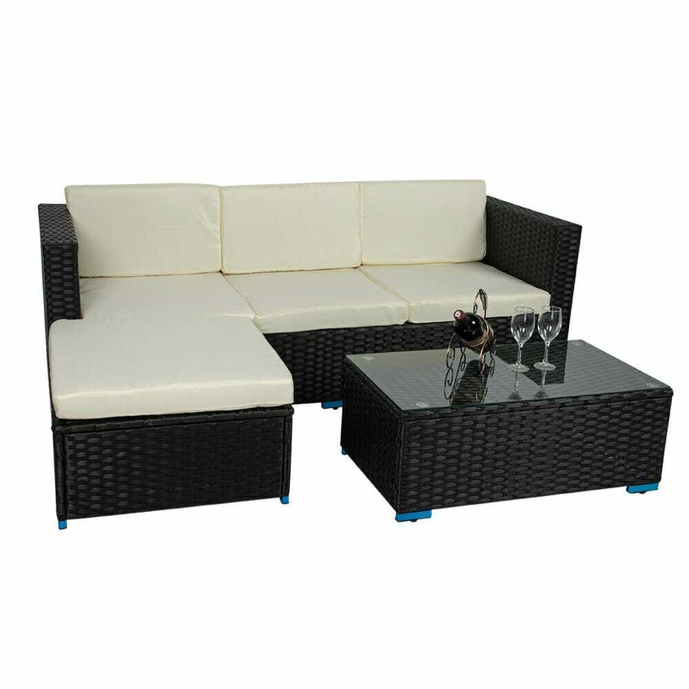 Garden Furniture - Rattan Furniture Corner Sofa Set With Cushion Outdoor Patio Garden Lounger