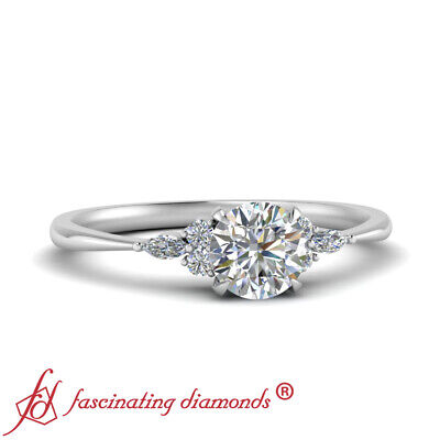 Round Cut And Marquise Diamond 7 Stone Wedding Ring In 18K White Gold 0.75 Ctw