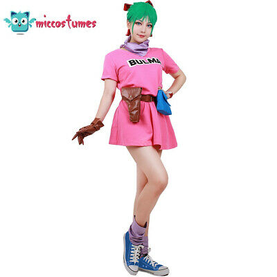Dragon Ball Z Bulma Cosplay Komplettes Outfit Rosa Kleid Anime Mädchen - Dragon Ball Mädchen Kostüm