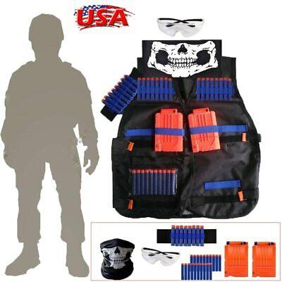 For Kids NERF TACTICAL VEST Kit Game Gun Strike Foam Darts Mask Glasses ALL IN 1