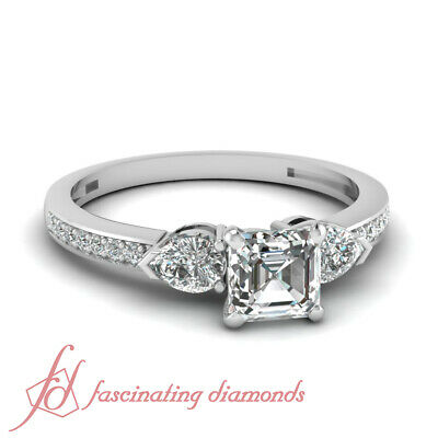 .90 Ct GIA Certified Asscher Cut Diamond Engagement Ring 14K Gold VVS2-G Color