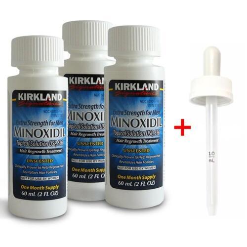 New Kirkland Minoxidil Extra Strength 3 Month Supply Wdropper Mens Hair Loss