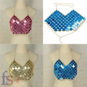 Mermaid Mirror Harness Crop Top Festival Body Chain Sequin Bralet Boho Blog Hot