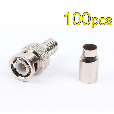 - 100 Pack Lot - RG59 2pc Coax Coaxial BNC Crimp On Male Connector Plug Ends CCTV