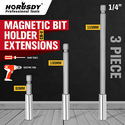 3pc Magnetic Bit Extensions Holder 1/4 Hex Shank 3