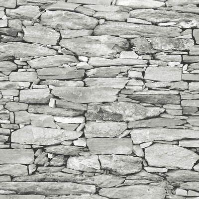 Light Grey Stone Wallpaper Realistic 3D Effect Natural Wall Design