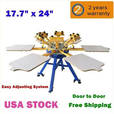 6 Color 6 Station T-shirt Silk Screen Printing Machine Press Equipment Carousel