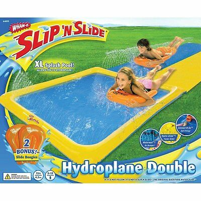 Wham-o Slip N Slide Dual Waterslide w/2 Slide Boogies and Huge Water Splash Pool