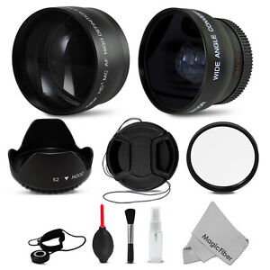 52MM Telephoto & Wide Angle + Accessory Kit for NIKON D3200 D3100 D5200 D5100
