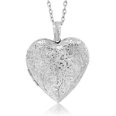 Locket Pendant Necklace Charm 1 5  Engraved Flowers Heart Shape   28 Inch Chain