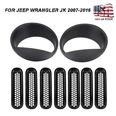 Front Grille Inserts Headlight Cover Trim Accessories For Jeep Wrangler - Jeep Wrangler Grille Cover