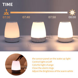 Wireless USB LED Wake Up RGB Night Light Table Desk Lamp Simulation Alarm Clock