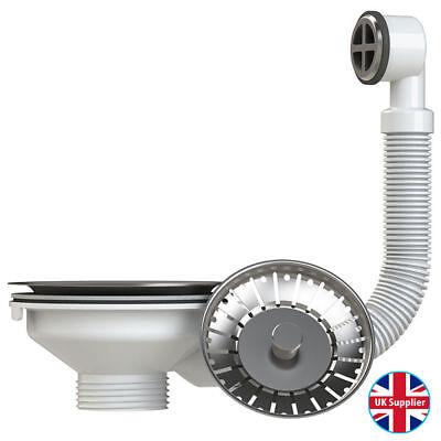 Stainless Steel Basket Strainer Kitchen Sink Waste Plug with ROUND Overflow
