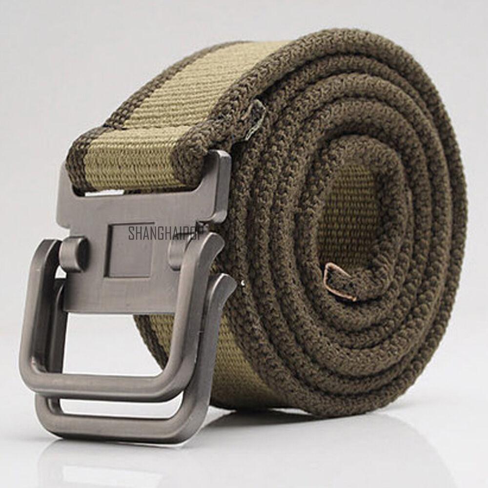 Uomo Tela Righe Cintura Tessitura Fibbia In Metallo Tessuto Militare