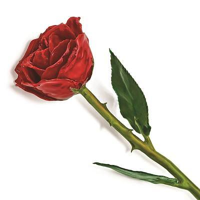 Lacquer Dipped Red Rose - Flowers & Leaves Lacquer Dipped Natural Green Leaves & Stem Red Rose