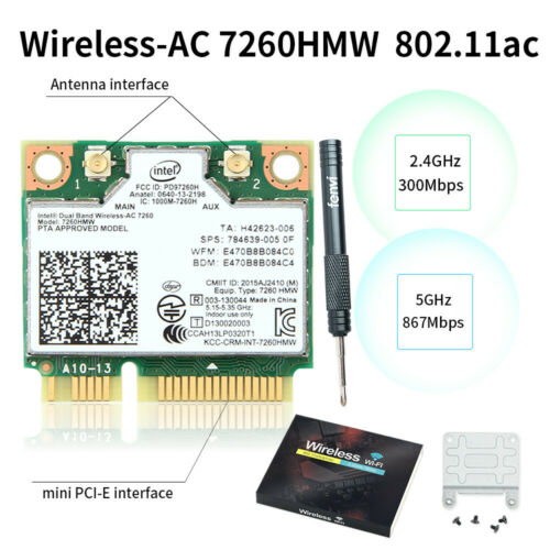 dual band network card 7260ac 867mbps 802