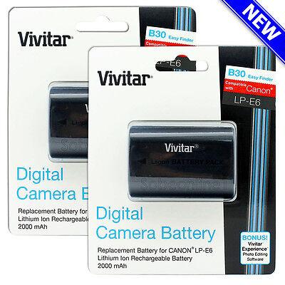 2 Pack Vivitar LP-E6 Battery for Canon EOS 60D 70D 80D 5D Mark III II 6D 7D Mark